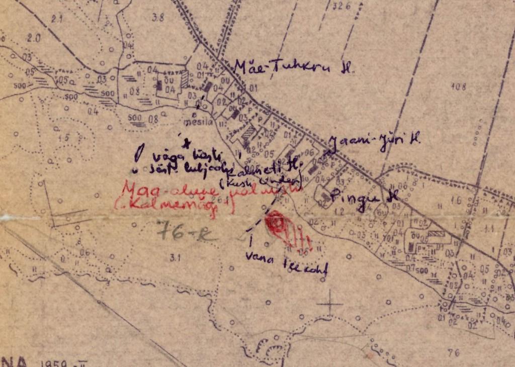 """Mälestise asukoht kantuna kolhoosi """"Võit"""" maakasutusplaanile (lk 3). 1988-1990."""