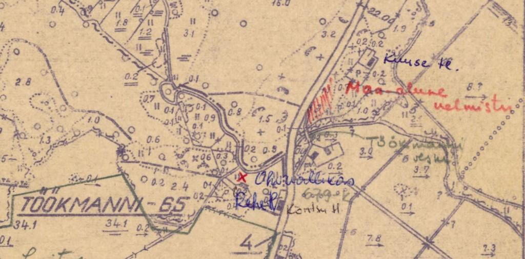 Külakalmistu asukohaplaan Haiba sovhoosi maakasutusplaanil, leht 1 (väljavõte)