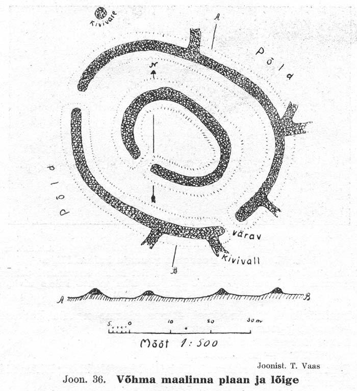 """""""Saaremaa ja Muhu muinasjäänused"""", Tartu 1924. Autor T. Vaas, TÜ Arheoloogia kabinet."""