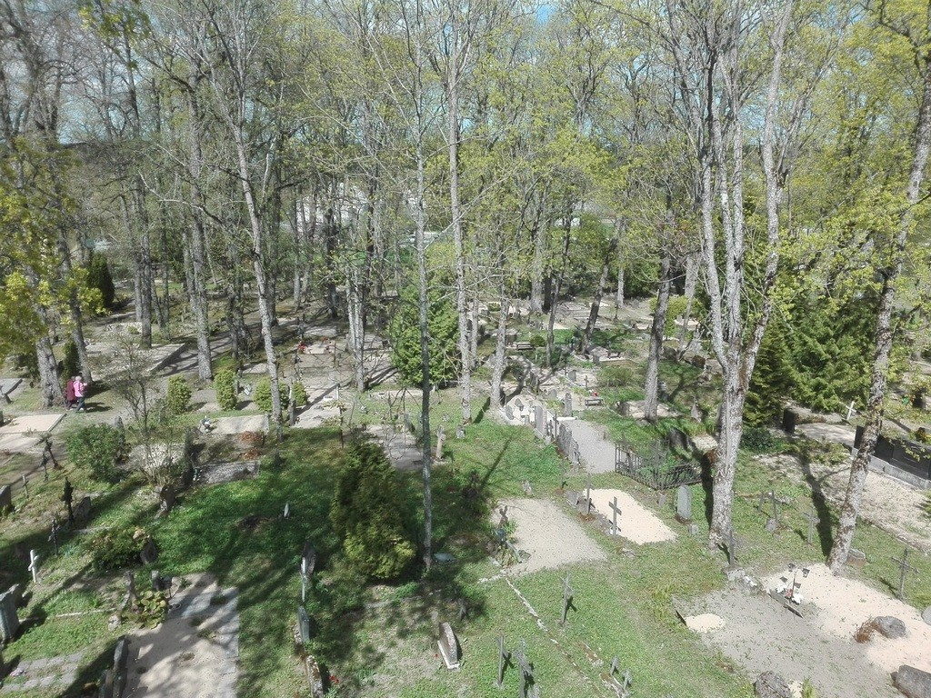 Järva-Jaani kirikuaed, kirikust põhjapoole jääv kalmistuosa. Foto: K. Klandorf 22.05.2017.