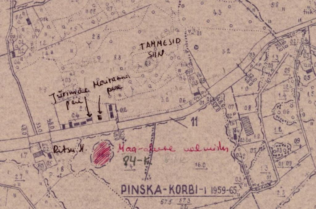 Mälestise asukoht Viljandi Näidissovhoosi majandiplaanil (leht 8). Väljavõte. Kalmistu tegelik asukoht on kohas, kuhu kaardil on kirjutatud TAMMESID SIIN.