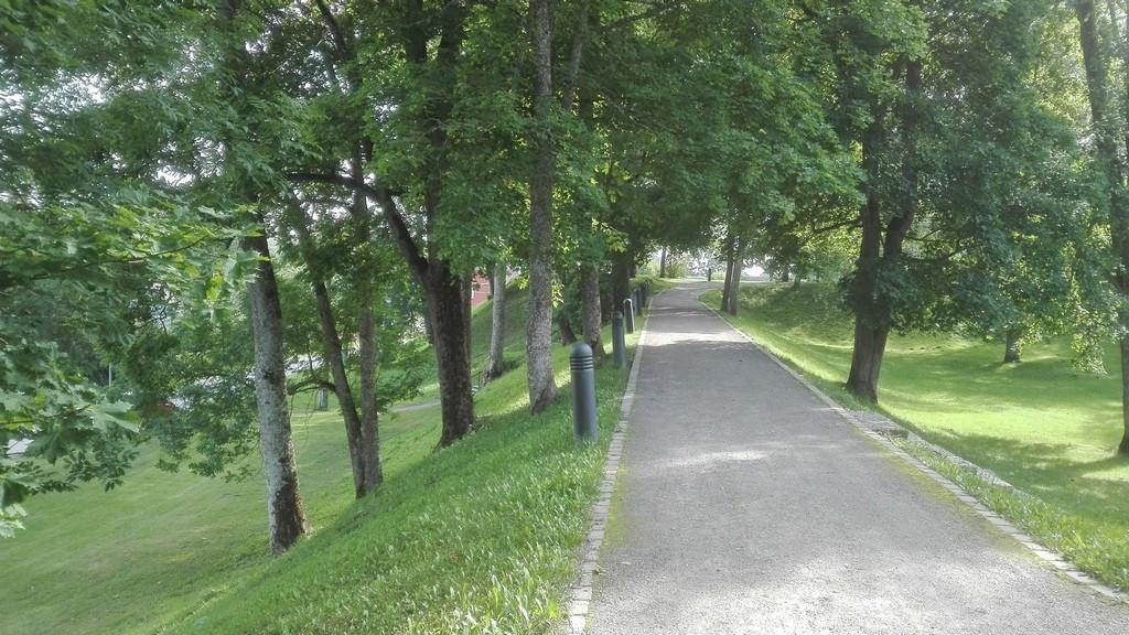 Paide linnuse bastionid ja vallikraavid, vaade idavallilt kagubastioni suunas. Foto: K. Klandorf 31.08.2017.