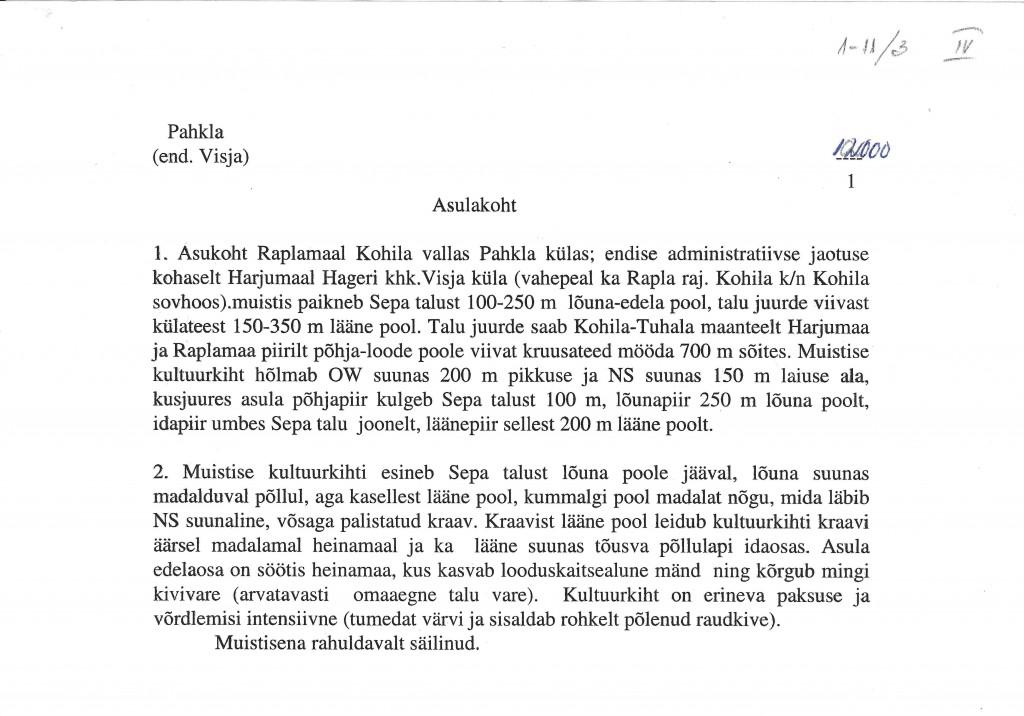 Mälestise pass. Koost. M. Mandel, 1996. Leht 1
