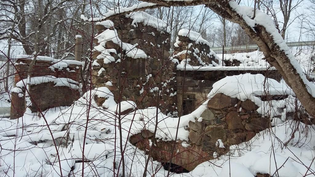 Ehavere vesiveski varemed  Vesiveski kaaravaga kanal, vee läbivool suletud NL aegadel.  Vaade kagust  Foto: Sille Raidvere Aeg: 16.02.2018