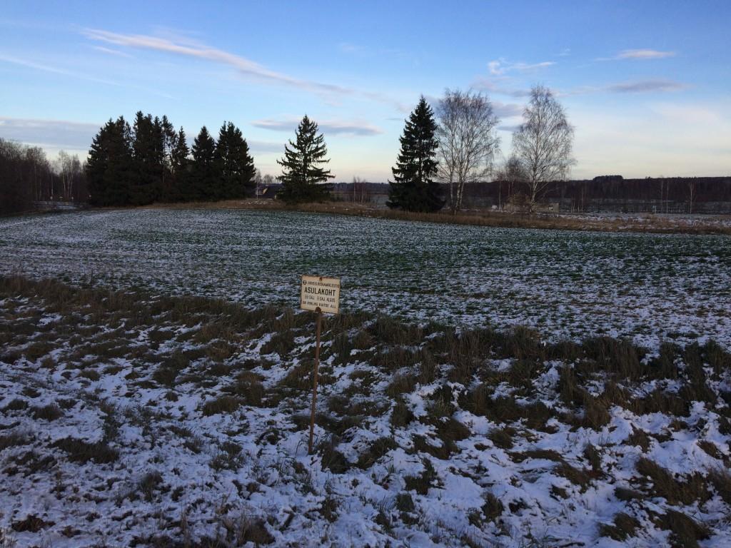 Vaade asulakohale reg-nr 13051 lõunast. Puude taga on raudtee. Foto 30.11.2018, A. Lillak.