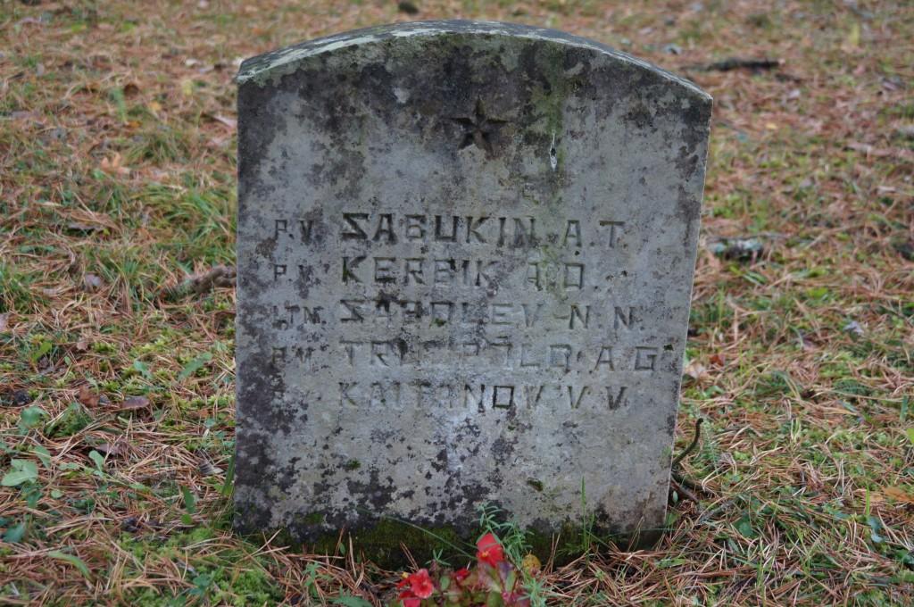 II ms hukkunute ühishaud Kärla kalmistul. Üks väikestest hauatahvlitest. Foto: Üllar Alev, 09.10.2018
