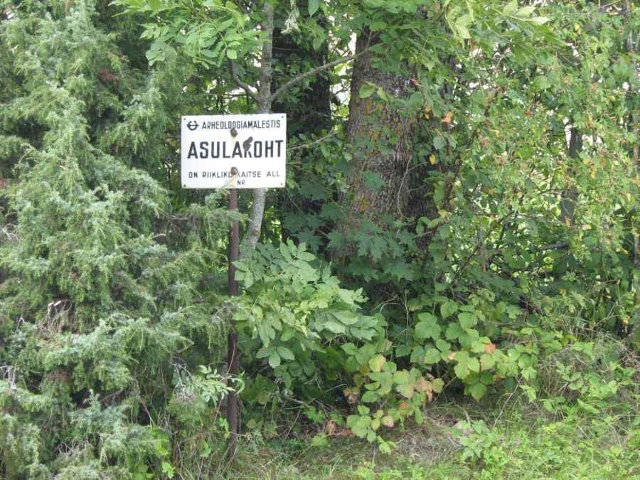 Mälestise tähis asulakoha piiril. Foto: M. Koppel, 2009.