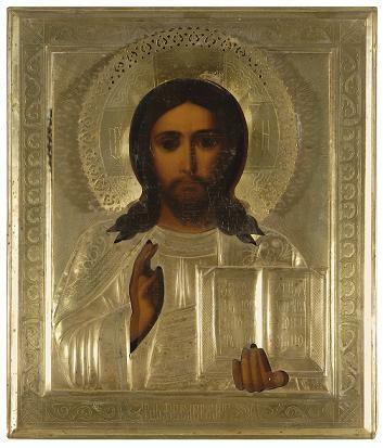 """Ikoon """"Kristus Kõigevalitseja"""", 19.saj.lõpp või 20.saj.algus (õli, puit, samet; kate: messing, hõbetatud) Foto: Jaanus Heinla, 14. 03. 2008"""