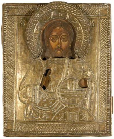 """Ikoon """"Kristus Kõigevalitseja"""", 19.saj.lõpp või 20.saj.algus (õli, puit; kate: messing, hõbetatud) Foto: Jaanus Heinla 14. 03. 2008"""