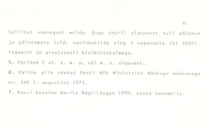 """Kivikalme """"Valgevare raun"""" - Arheoloogiamälestise pass (väljavõte) lk 6. Pass koostatud: Marika Mägi-Lõugase pool 1995. a."""