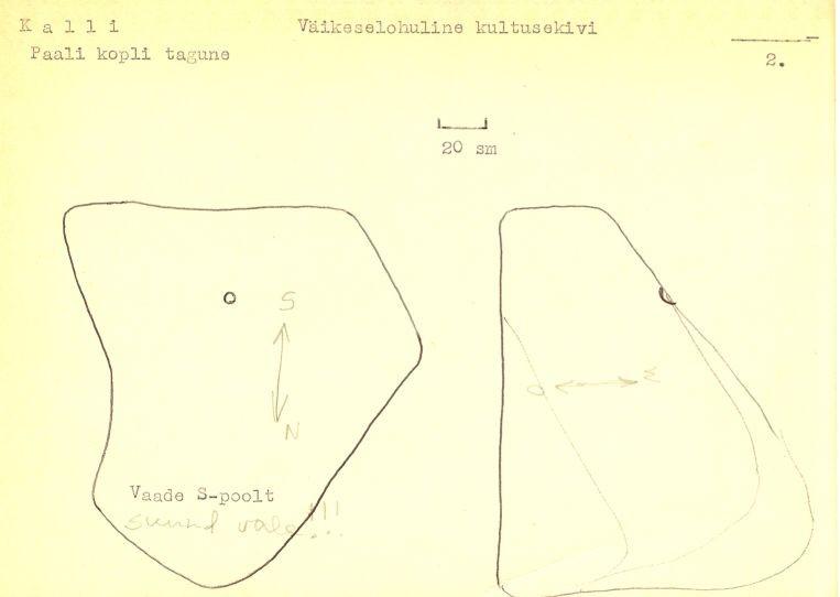 Reg nr 12707, kultusekivi. Arheloloogiamälestise pass. Koostanud: Vello Lõugas. 1979. a.