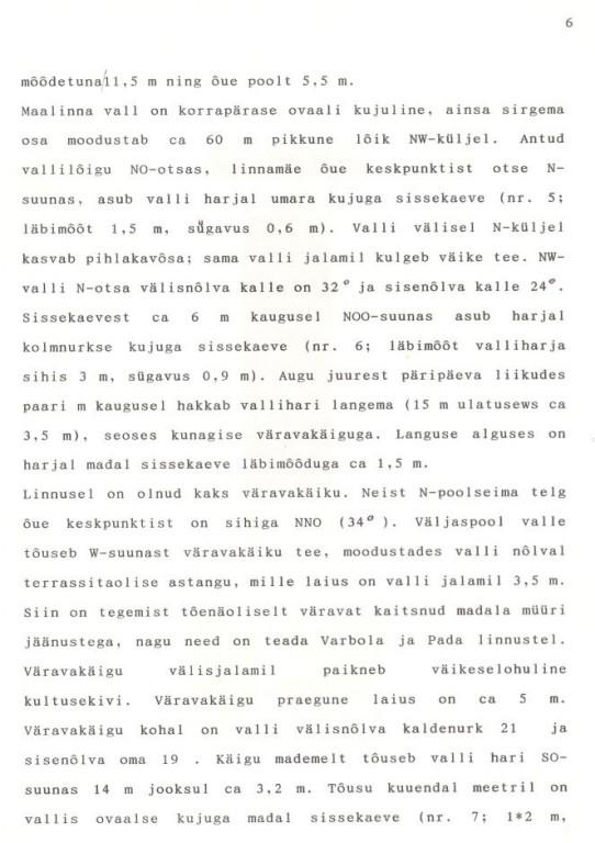 6 - arheoloogiamälestise pass. Koostanud: Marika Mägi-Lõugas, 1997. a mais. MKA arhiiv.