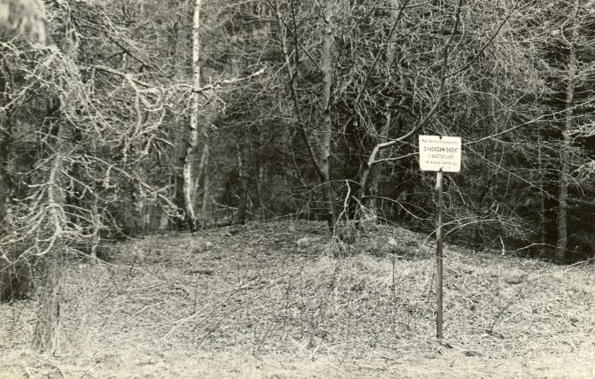 Ohverdamiskoht - edelast. Foto: E. Väljal, 27.04.1985. (Muinsuskaitseameti arhiiv).