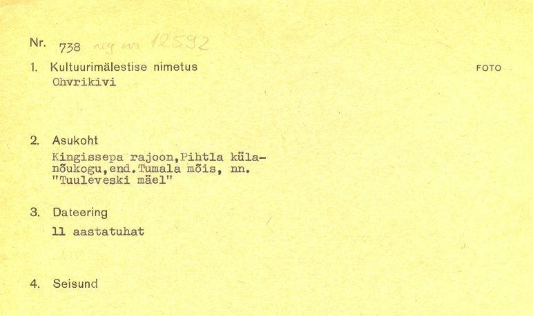 1 - arheoloogiamälestise pass (reg nr 12592 kultusekivi). Kaitse alla võetud 31.12.1964. Passi koostaja: märkimata.