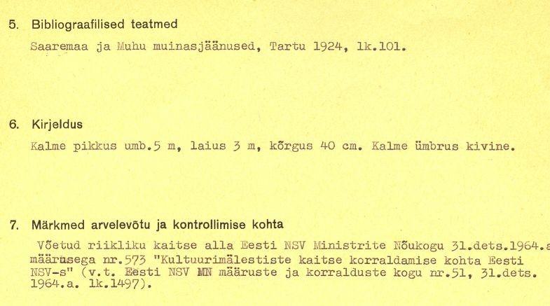 1-p - arheoloogiamälestise (kivikalme, reg nr 12568) pass.  Kaitse alla võetud 31. dets 1964. Koostaja: märkimata.