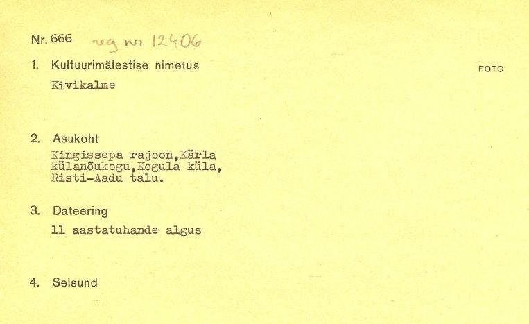 1 - arheoloogiamälestise pass. MKA arhiiv.
