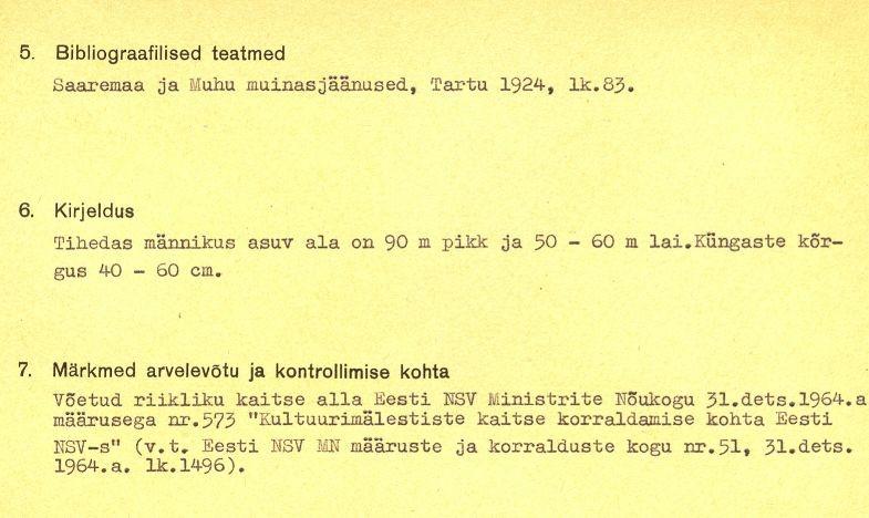 1-p - arheoloogiamälestise pass. MKA arhiiv.