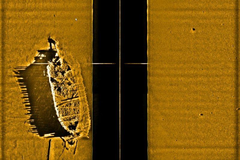 """""""Kihelkonna"""" vraki sonaripilt. Tuukritööde OÜ/ Muinsuskaitseamet 2009"""