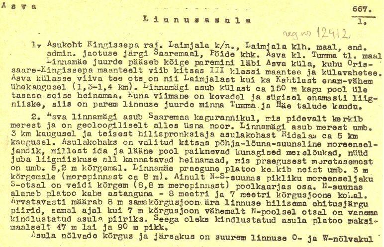 1 - arheoloogiamälestise pass. V. Lõugas 1973. a. MKA arhiiv.