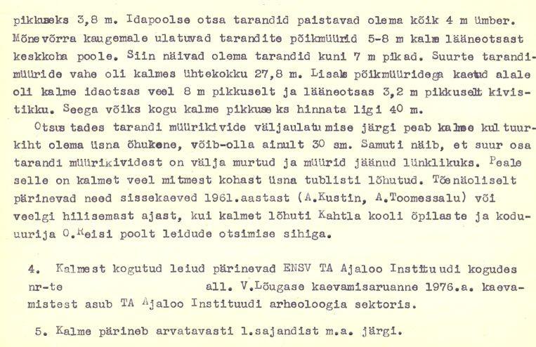 5-p - arheoloogiamälestise pass. V. Lõugas, 1976. a. MKA arhiiv.