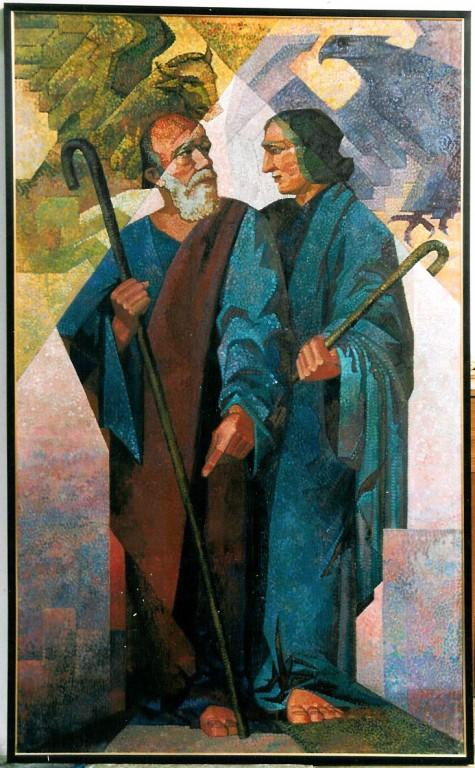 """Maal """"Evangelistid Luukas ja Johannes"""". R. Nyman, 1932 (õli, lõuend). Foto: J.Heinla 2002"""