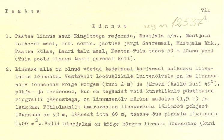 1 - arheoloogiamälestise - Paatsa linnus, reg nr 12537 - pass. Koostanud: J. Selirand, 1973. a.