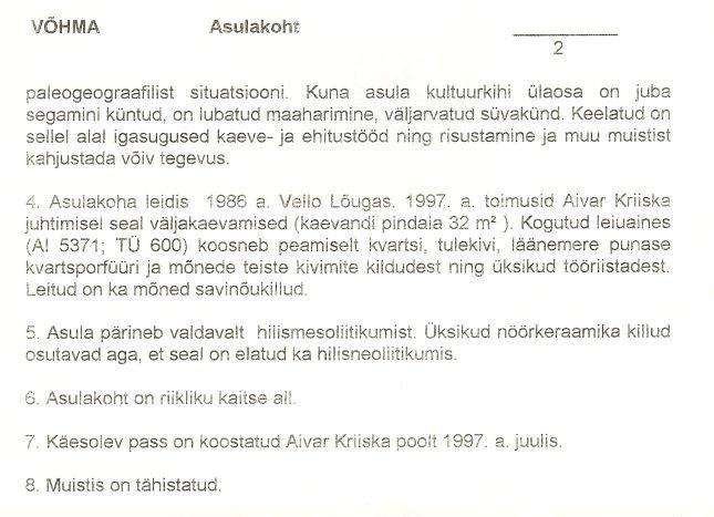 2- arheoloogiamälestise pass (kiviaia asulakoht, reg nr 12549). Koostanud: Aivar Kriiska, 1997.
