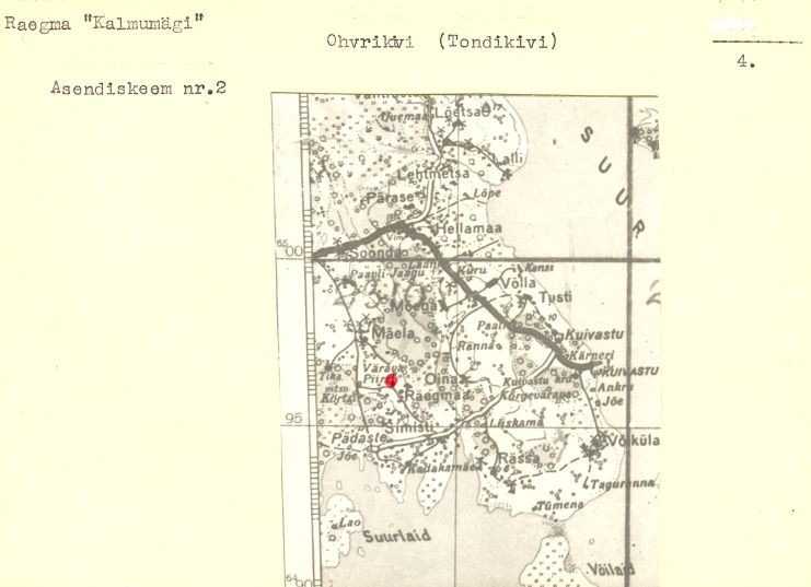 4 - arheoloogiamälestise - ohvrikivi 12532 - pass.  Koostanud: Vello Lõugas, 1985.