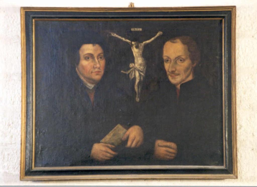 """Maal """"M. Lutheri ja P. Melanchthoni kaksikportree. L. Cranachi järgi (õli, lõuend). Foto: Jaanus Heinla, 2002"""