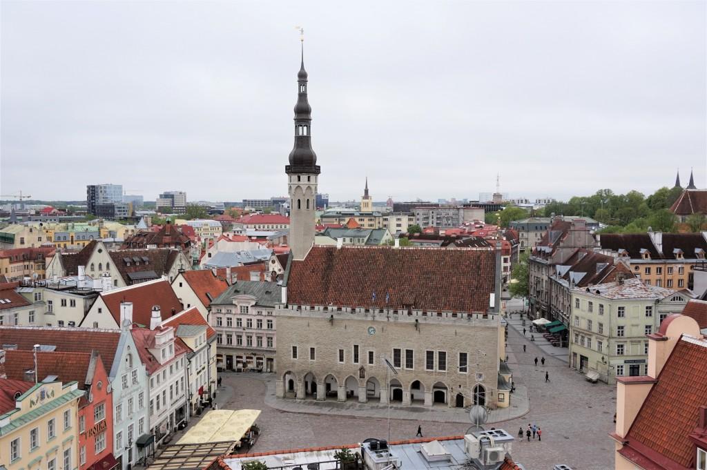 Raekoja vaade Pühavaimu kiriku fassaadide restaureerimise ajal paigaldatud tellingutelt. Foto: Eero Kangor, 19.05.2021