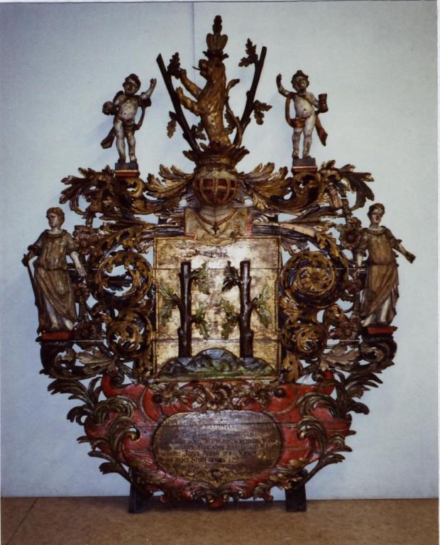 W. v. Stackelbergi vappepitaaf. Chr. Ackermann (?), umb. 1682 (puit, polükroomia) Foto: Toomkiriku vapitöökoda 2002