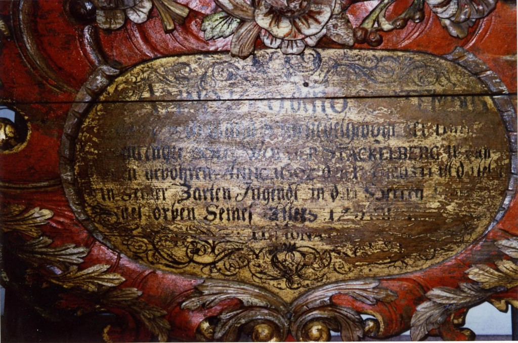 W. v. Stackelbergi vappepitaaf. Chr. Ackermann (?), umb. 1682 (puit, polükroomia). Detail Foto: Toomkiriku vapitöökoda 2002
