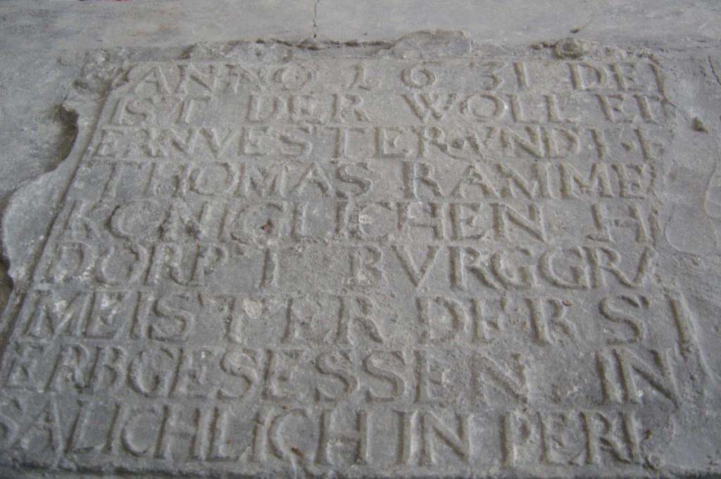 T. Rammi hauamonument. A. Passeri töökoda, 1634(?) (paas). Detailvaade. Foto: Sirje Simson 29.04.2006