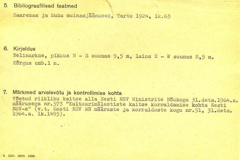 pass - 1-p - arheoloogiamälestise pass. MKA arhiiv.