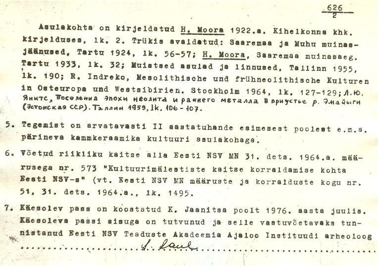 pass - 2 - arheoloogiamälestise pass. Koostanud: K. Jaanits, 1976. a. MKA arhiiv.