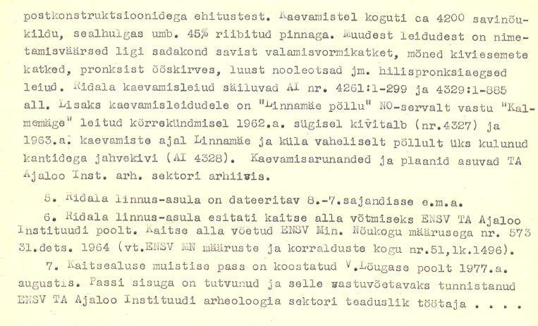 pass - 2-p - arheoloogiamälestise pass. V. Lõugas, 1977. MKA arhiiv.