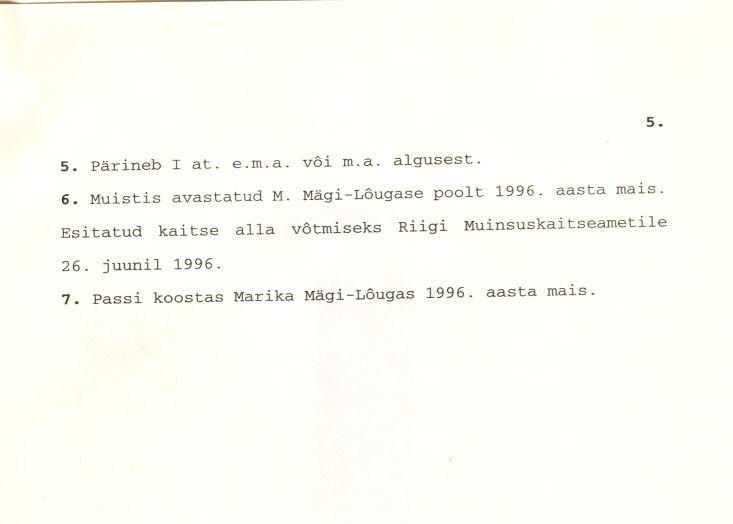 Kivikalme - arheoloogiamälestise pass (lk 5) Koostanud: Marika Mägi-Lõugas, 1996. a.