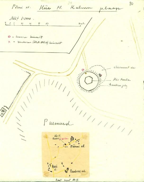 Pärni küla kalmistu kaart. 1922. AI arhiiv, Kaarma kihelkonna muinasjäänused.