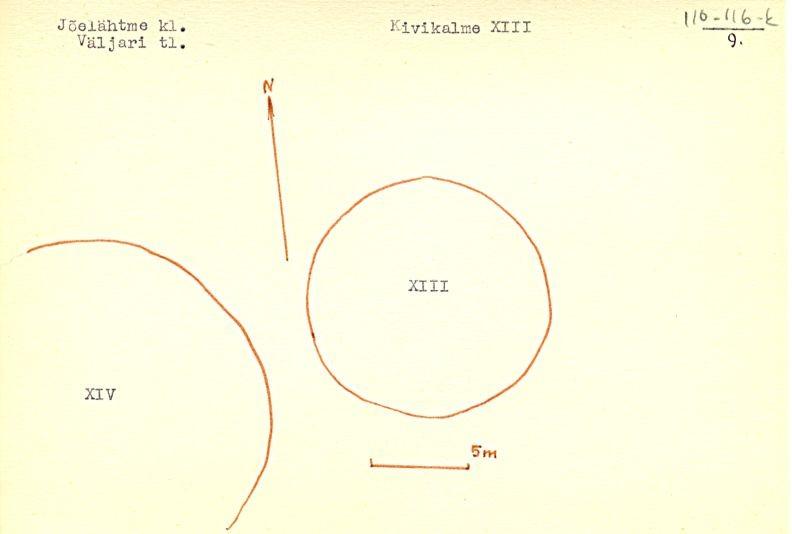 PASS 1975. V. Lõugas. Leht 9. Mälestised (reg nr 17561 ja 17562) on tähistatud passis numbriga vastavalt XIII ja XIV.