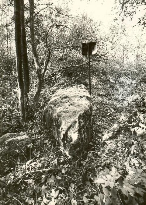 Rahvajuttudega seotud kivi. Foto: M. Pakler, 13.09.1979.