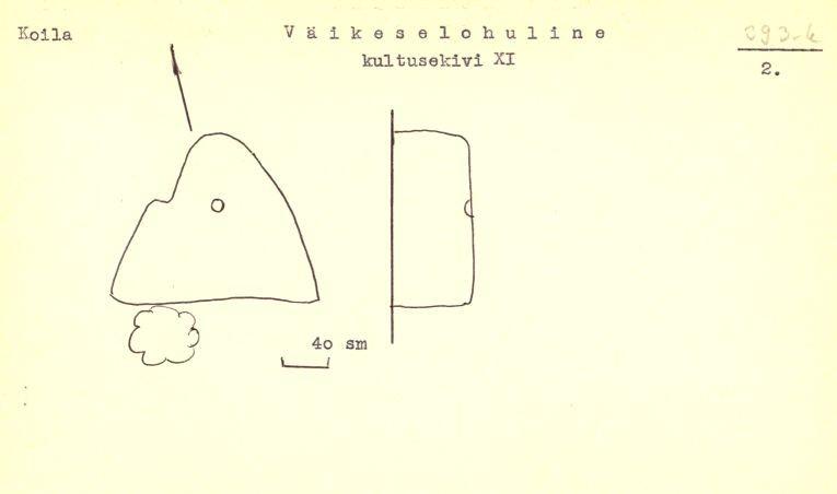 PASS 1976. V. Lõugas. Leht 2. Mälestis on passis tähistatud numbriga XI, lisaks on joonisele kirjutatud ka vana reg nr 393-k.