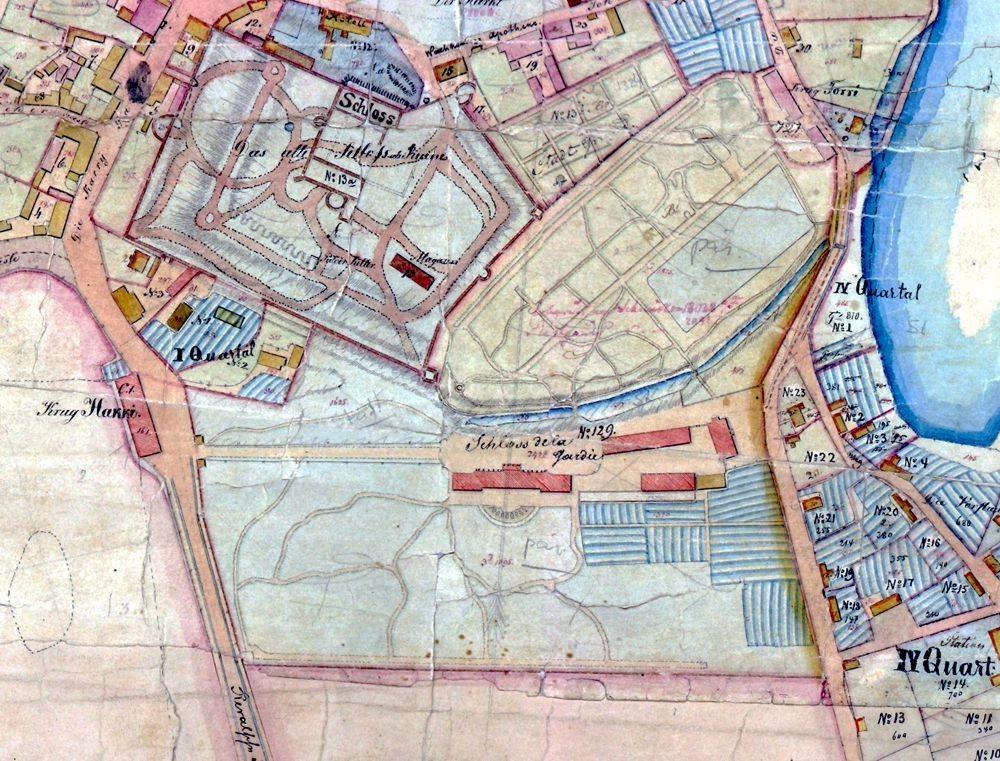 De la Gardie aadlielamu (lossi) ümbruse plaan, väljavõte 19 saj keskelt pärinevast Haapsalu linnaplaanist
