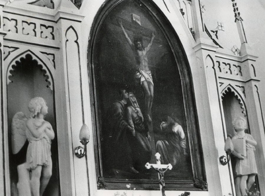 """Altarimaal """"Kristus ristil"""" 19484  Autor M. Hiis  Kuupäev  11.06.1981"""