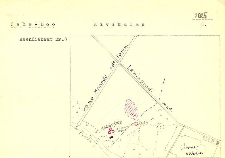 PASS 1971. Koost. V. Lõugase juhendamisel. Leht 3. Mälestised tähistatud skeemil vana reg numbriga  2026-2028. Esimesest kalmest (reg nr 17630) 13 m edelas oletas V. Lõugas veel ühe kalme jäänust, mis ei ole eraldi mälestisena praegu kaitse all, kuid asub kalmete reg nr 17630-31 kaitsevööndis.