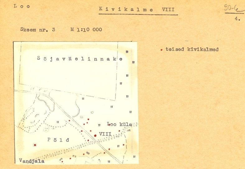 PASS 1973. V. Lõugas. Leht 4. Mälestis on skeemil tähistatud numbriga VIII.