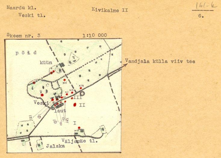 PASS 1974. V. Lõugas. Leht 6. Mälestis on skeemil tähistatud numbriga XII.