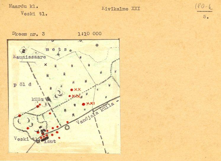 PASS 1975. V. Lõugas. Leht 5. Mälestis on skeemil tähistatud numbriga XXI.