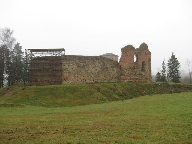 Vastseliina piiskopilinnus vallikraaviga, 14-16 saj.  Lõunamüür. Foto Tõnis Taavet, 10.11.2010.