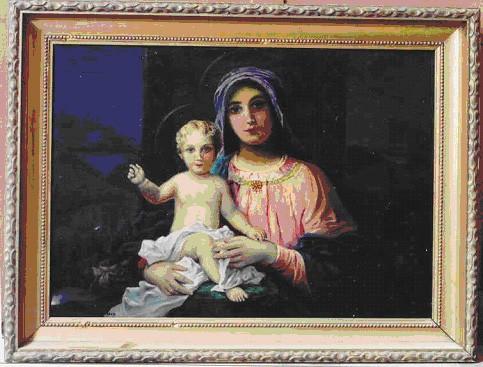 """Maal """"Neitsi Maarja Jeesuslapsega"""", V. Ugarenko Batero järgi, 1958 (õli, lõuend) Foto: 2003"""