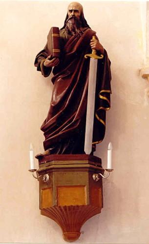 """Skulptuur """"Apostel Paulus"""". J. R. Salemann, 19. saj. keskpaik või II pool (kunstkivi, valatud, polükroomne) Foto: Jaanus Heinla, 2003"""